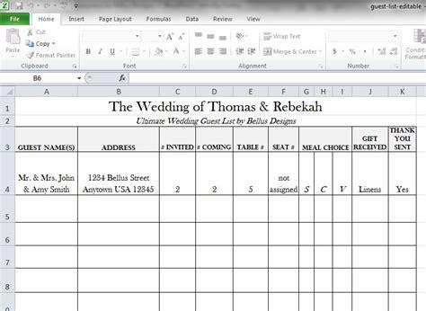 downloadable wedding guest rsvp list bellus designs