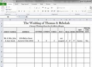 free downloadable wedding guest rsvp list bellus designs With wedding invitation rsvp spreadsheet