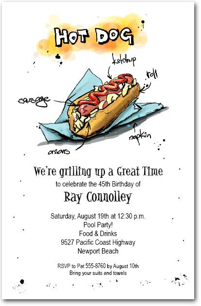 hot dog bbq party invitations