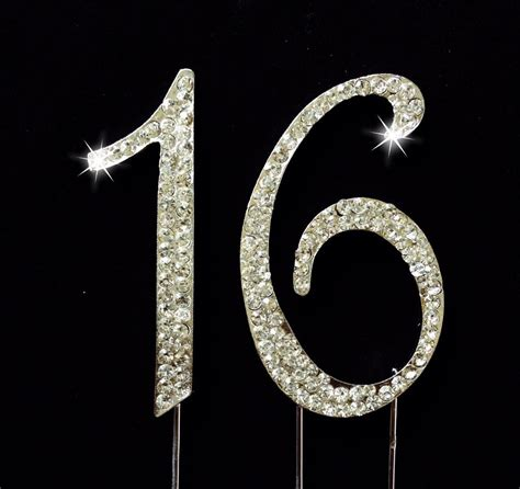 gold rhinestone covered 18 18th sweet 16 birthday number cake topper sparkling rhinestones