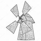 Coloring Wind Mill Drawing Butterfly Vector Adults Illustration Getdrawings Zentangle Drawn sketch template