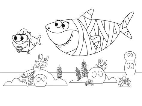 Baby Shark and Mummy Shark Coloring Page Free Printable