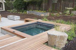 backyard designs with pool and hot tub Landscaping