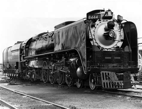 union pacific steam locomotive 8444 is in the railroad