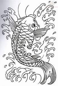 Japanese Koi Outline Tattoo Design - TattooMagz