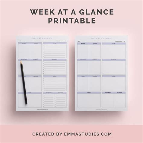 week at a glance calendar 236 best printables images on pinterest free printables