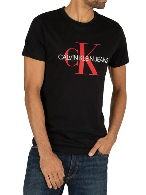 calvin klein jeans monogram logo slim  shirt blackracing red standout