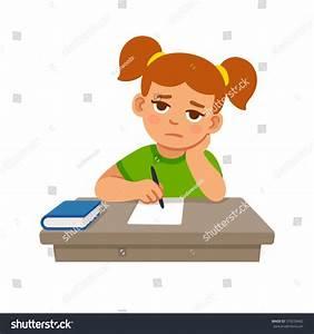 Bored School Girl Doing Homework Cute Stock Vector ...