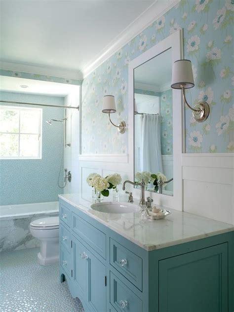 blue bathroom  blue washstand  board  batten