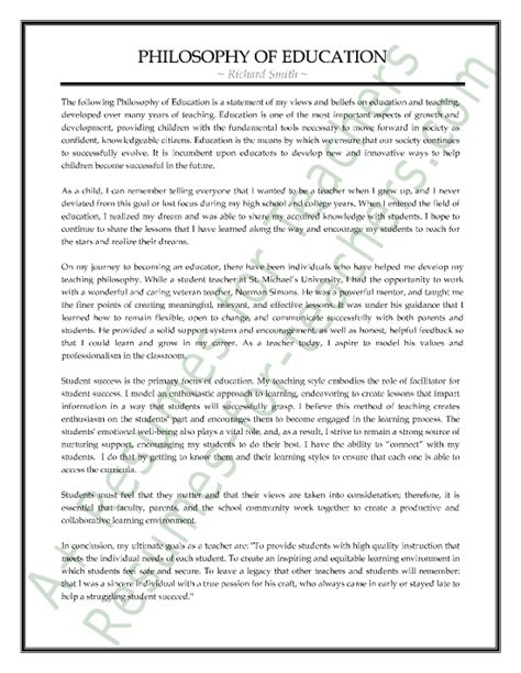teaching philosophy template sle philosophy of education statement a resumes for teachers