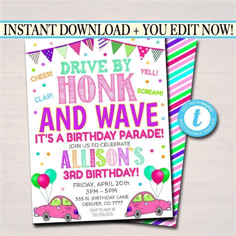 Drive By Birthday Party Parade Invite TidyLady Printables