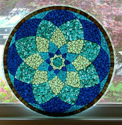 Blue Mandala Glass Mosaic Translucent Tabletop