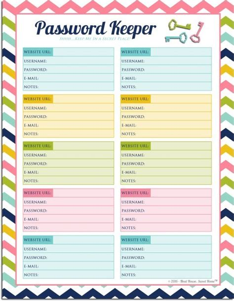 password keeper template free printable password keeper neat house sweet home