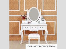 Queen Anne French Dressing Table w Mirror in White Buy
