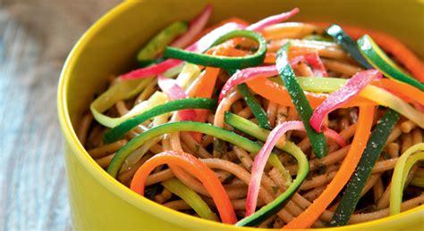 cuisiner un poivron des spaghettis à l épeautre et tagliatelles de légumes