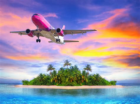 plane leaving tropical island  sunset hd wallpaper background image  id