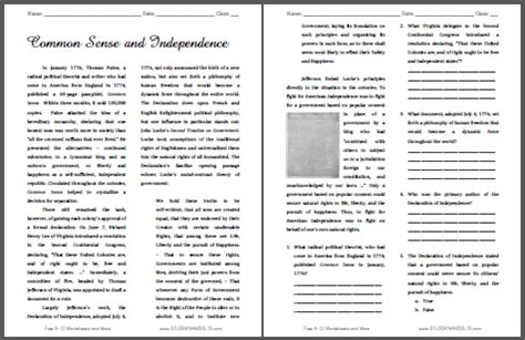 common sense  independence reading  questions