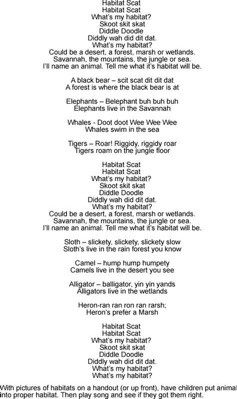 habitat scat song lyrics  sound clip