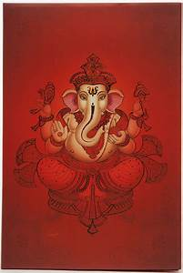 hindu wedding card with ganesha design in shades of orange With wedding cards pictures ganesha