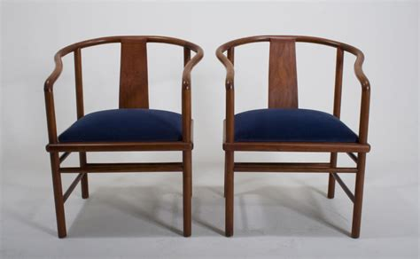 Blue Velvet Chinoiserie Chairs For Sale