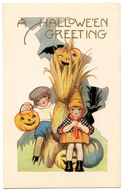 vintage halloween graphic cute kids  pumpkins