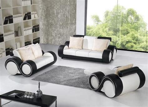 B783 Modern Black And White Leather Sofa Set