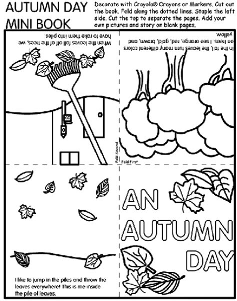 autumn day mini book coloring page crayolacom