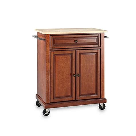 crosley wood top portable rolling kitchen cart