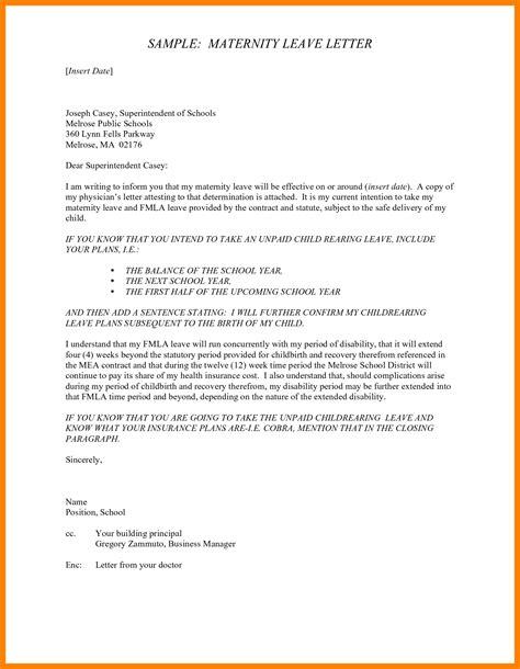 maternity leave application format  teachers cv