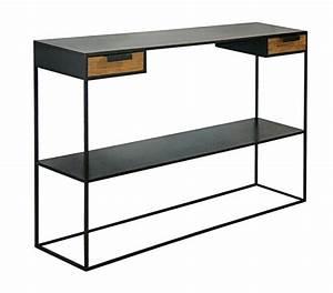 Console Metal Et Bois : console industrielle metal acier brut et bois sur mesure ~ Teatrodelosmanantiales.com Idées de Décoration