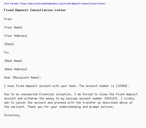 fixed deposit cancellation letter
