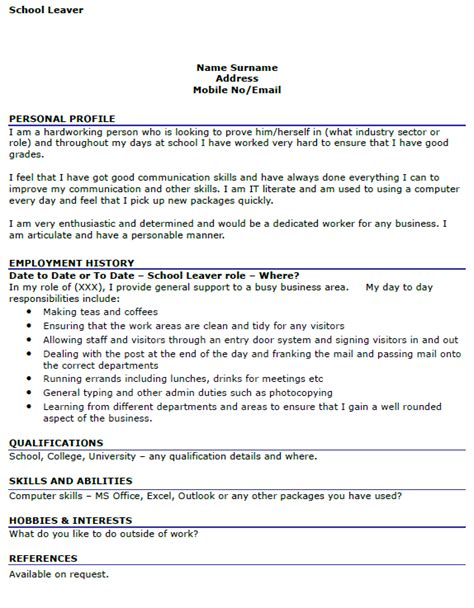 school leaver resume free excel templates