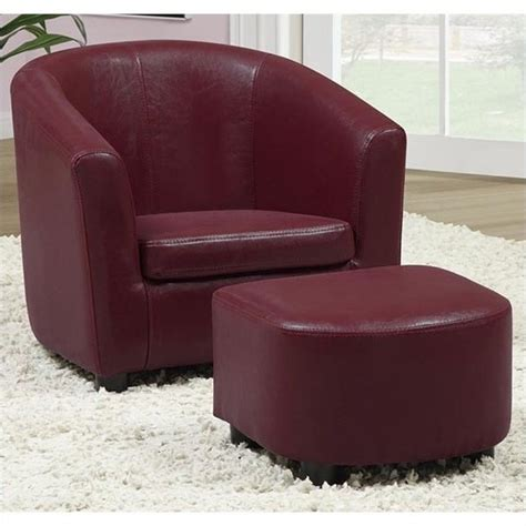 chair and ottoman set in faux leather i 8105