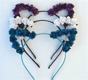 flower cat ears flower cat ear headband festival wear festival cat