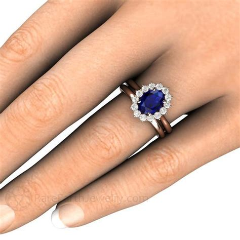 wedding ring connectors blue sapphire and wedding ring oval cut halo 9939