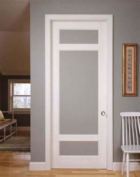 simple vintage styled interior doors  frosted glass