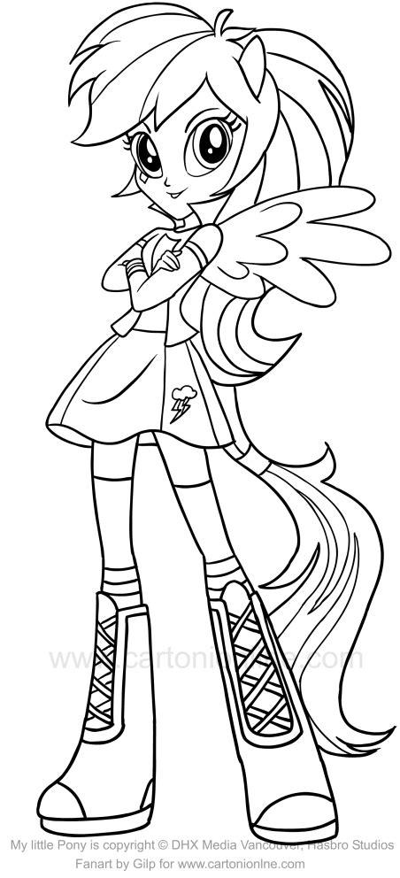 rainbow dash equestria girl coloring page  getcolorings