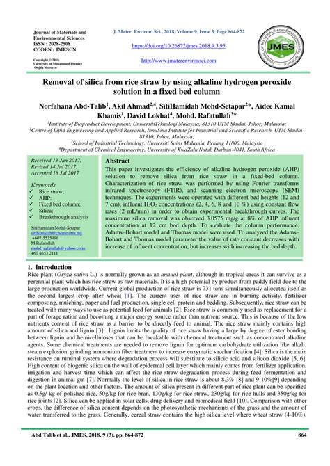 (PDF) Removal of silica from rice straw by using alkaline ...