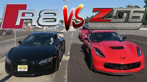audi r8 lance stewart we finally raced our cars audi r8 v10 vs corvette z06 c7