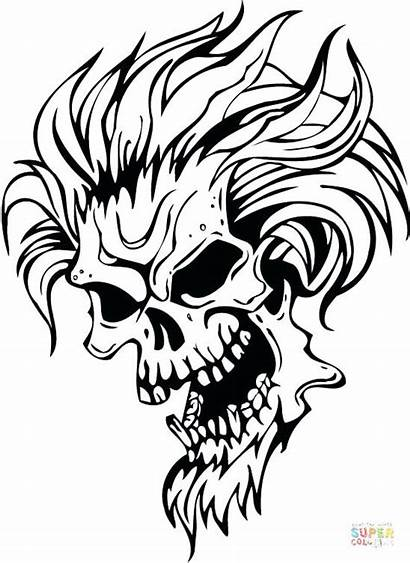 Coloring Demon Pages Evil Skull Drawing Hair