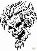 Demon Coloring Evil Skull Drawing Stencils Skulls Colorear Monster Para Tattoo Demonios Dibujos Sunflower Printable Face Stencil Supercoloring Template Demons sketch template