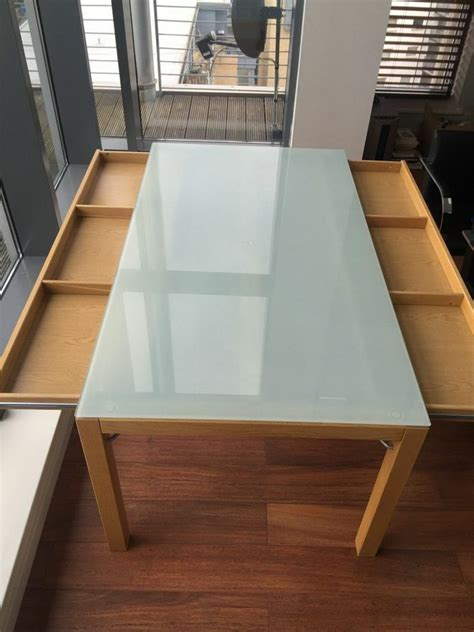 Ikea Table Top Desk by Ikea Dining Table Office Desk Oak Base Frosted Glass Top