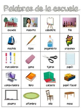 spanish word wall school words  erin horn teachers
