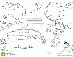 Coloring Young Girl In The Park Stock Vector ...