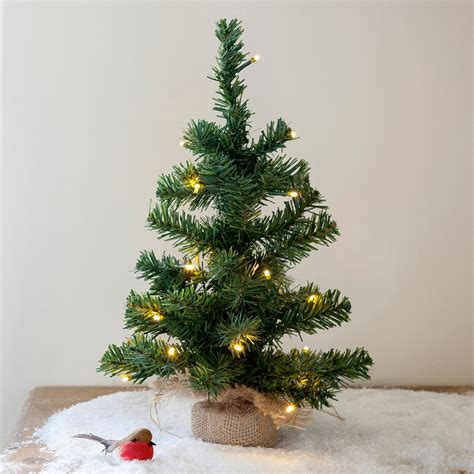 pre lit battery mini christmas tree with jute bag