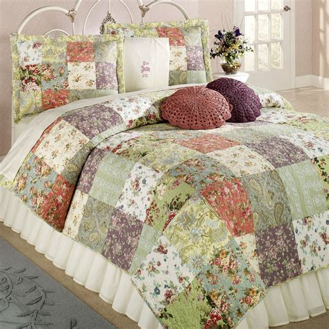 tree curtains blooming prairie cotton patchwork quilt set bedding