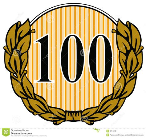 Number 100 With Laurel Leave Stock Photography Image