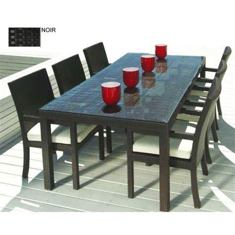 table exterieur pas cher kgarden miami noir ensemble de jardin table et chaises salon d ext 233 rieur noir pas cher
