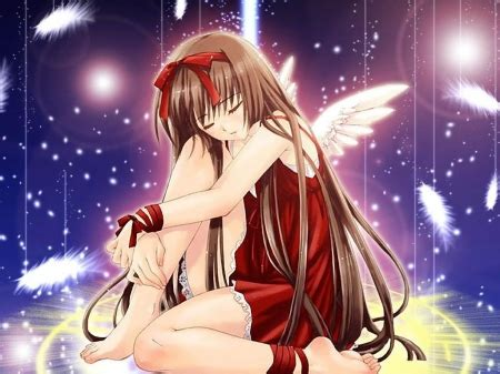 sad angel falling feathers  anime background