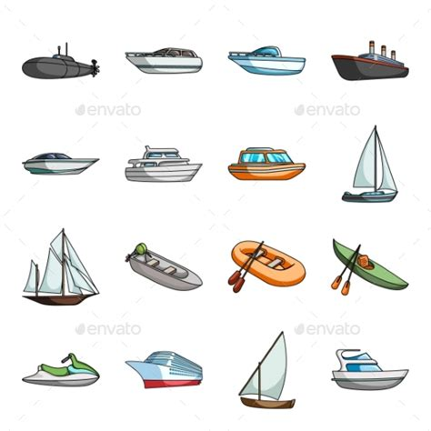 Water And Sea Transport Cartoon Icons By Pandavector